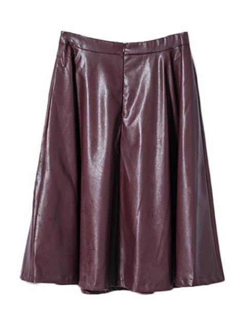 shops Wine Red PU Leather High Waisted Skirt -   Mobile