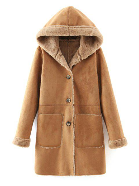 shops Faux Suede Hooded Solid Color Thicken Coat - KHAKI S Mobile