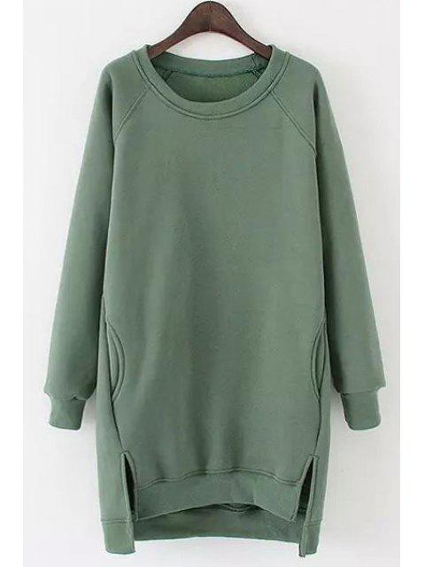 ladies Side Slit Pocket Design Long Sweatshirt - GREEN ONE SIZE(FIT SIZE XS TO M) Mobile