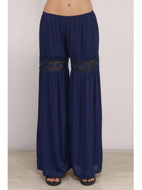 new Lace Spliced Blue Women's Palazzo Pants - BLUE XS Mobile
