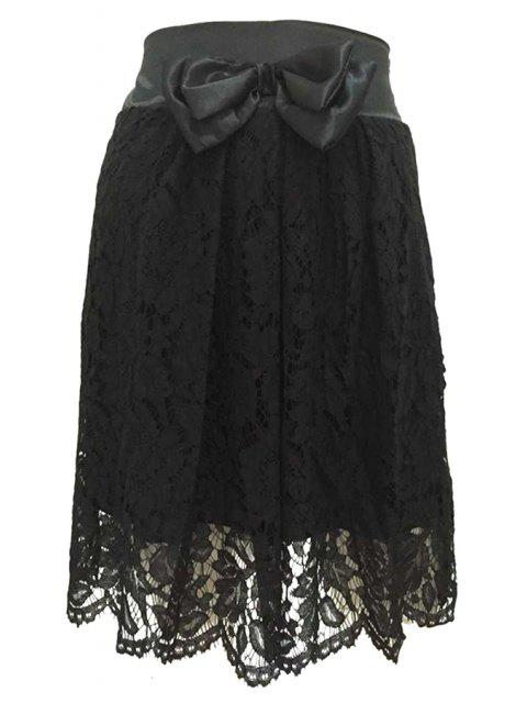 latest High-Waisted Bowknot Lace Skirt - BLACK S Mobile