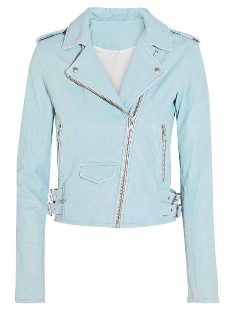 sale Lapel PU Leather Cropped Jacket - BLUE XL Mobile