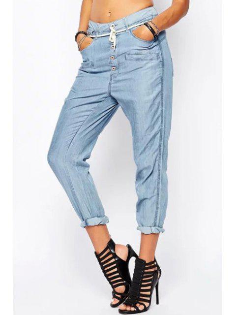 hot Light Blue Drawstring Harem Jeans - LIGHT BLUE S Mobile