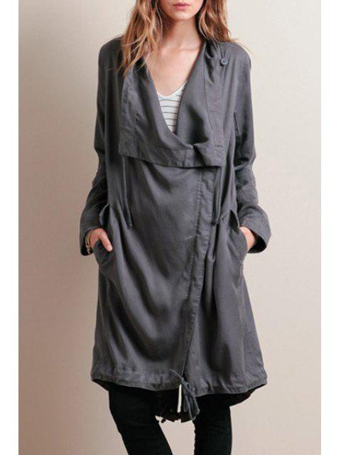 Manteaux à manches longues à manches longues Waisted Irregular Hem Trench Coat - gris L Mobile