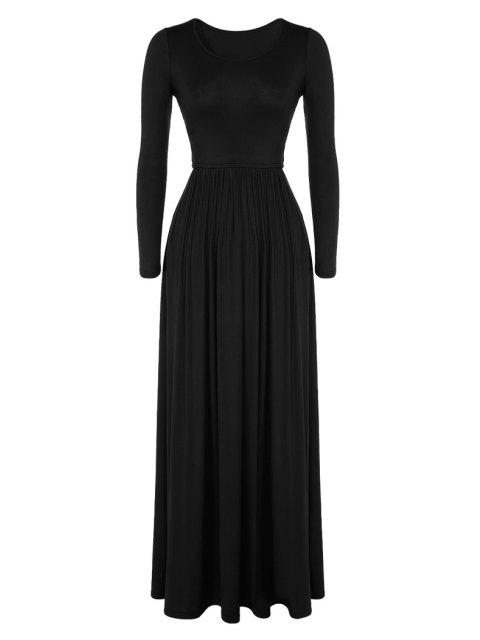 best Pleated Solid Color Long Dress - BLACK L Mobile