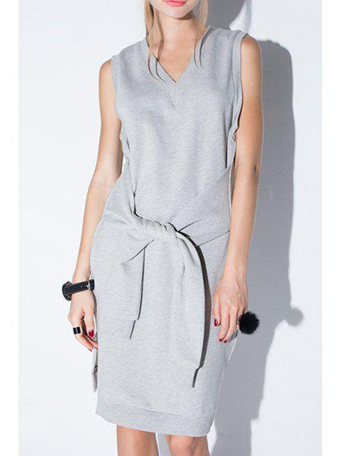 unique Solid Color V-Neck Sleeveless Side Slit Dress - GRAY L Mobile