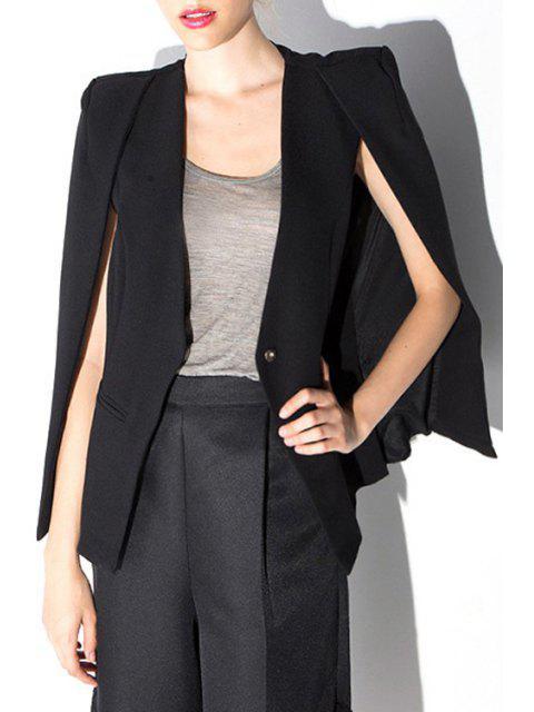 affordable Black Collarless Cape Blazer - BLACK XL Mobile