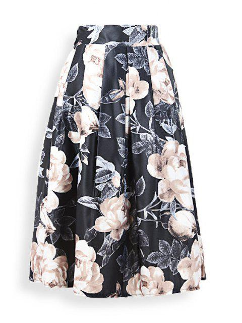 ladies Large Flower Ruffled Midi Skirt - BLACK ONE SIZE(FIT SIZE XS TO M) Mobile