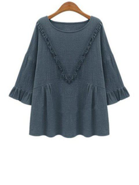 women's Solid Color Long Sleeves V Pattern Fringes T-Shirt - GRAY XL Mobile
