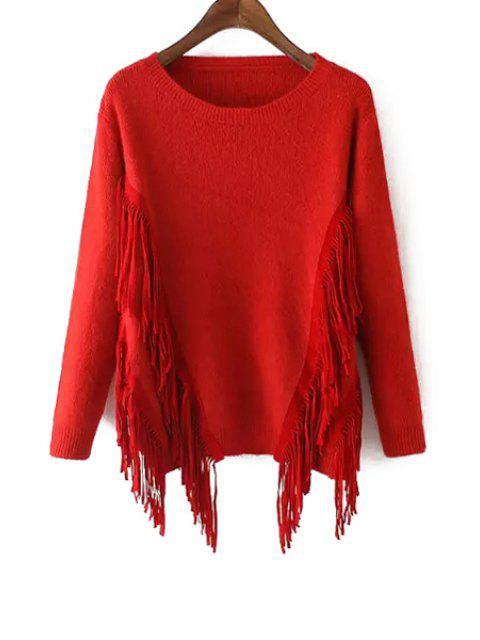 sale Solid Color Tassels Long Sleeves Pullover Sweater - RED ONE SIZE(FIT SIZE XS TO M) Mobile