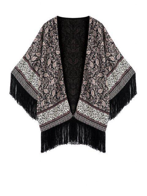 sale Printed Tassels Collarless Half Sleeves Kimono Coat - GRAY L Mobile