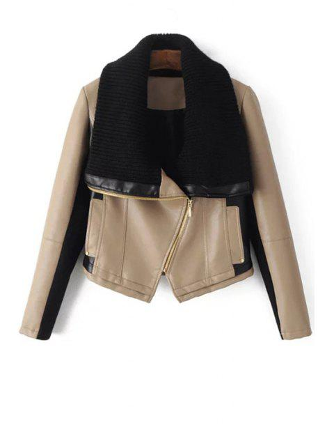 trendy Sweater Turn-Down Collar Spliced PU Leather Jacket - OFF-WHITE S Mobile