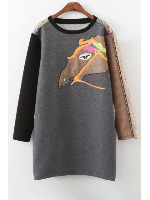 latest Embroidered Animal Pattern Straight Dress - GRAY S Mobile