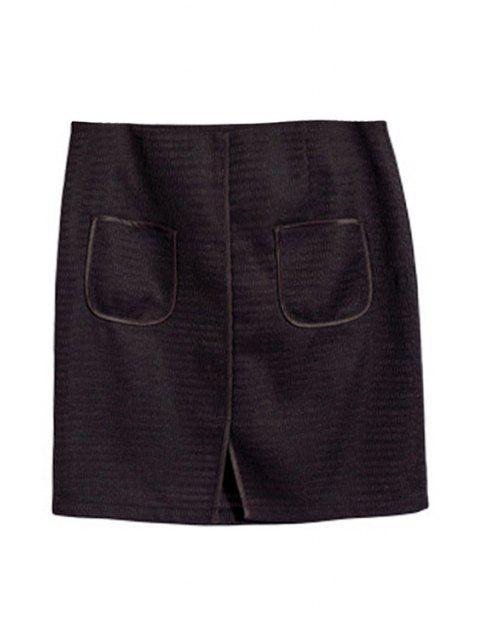 womens Pocket Design Front Slit Mini Skirt - BLACK S Mobile