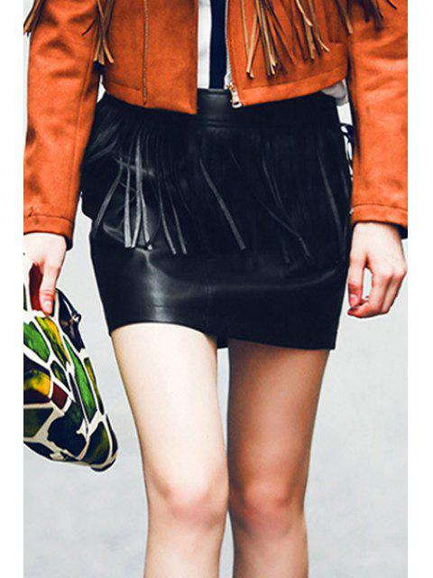 online Fringed Faux Leather Skirt - BLACK L Mobile