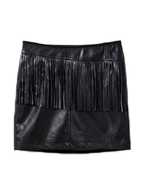 online Fringed Faux Leather Skirt - BLACK L Mobile