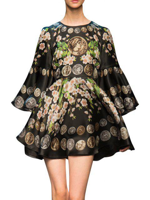 fancy Bell Sleeve Floral Print Prom Dress - BLACK L Mobile