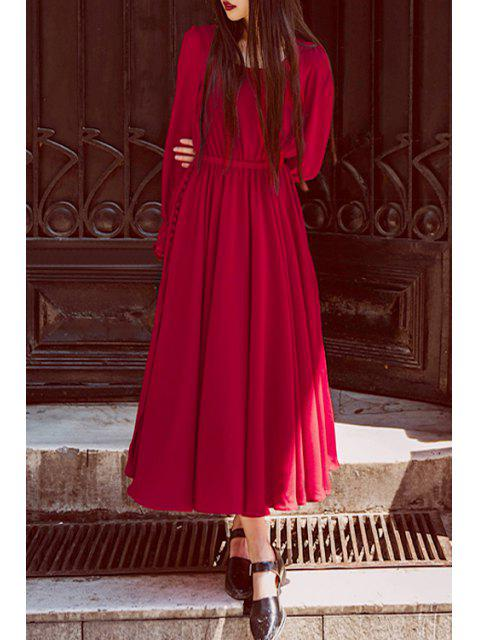 trendy Long Sleeve High Slit Red Dress - RED S Mobile