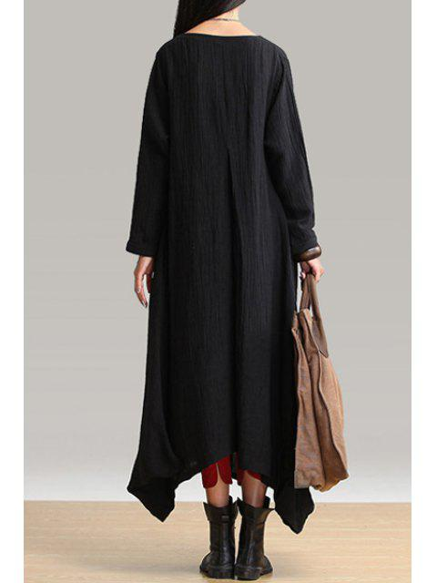 shop Long Sleeve Loose-Fitting Linen Dress - BLACK ONE SIZE(FIT SIZE XS TO M) Mobile