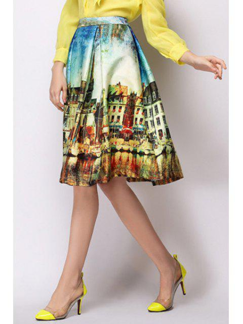 shops A-Line Scenery Print Midi Skirt - YELLOW L Mobile