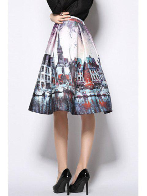 women A-Line Scenery Print Midi Skirt - PURPLE L Mobile