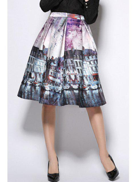 women A-Line Scenery Print Midi Skirt - PURPLE L Mobile