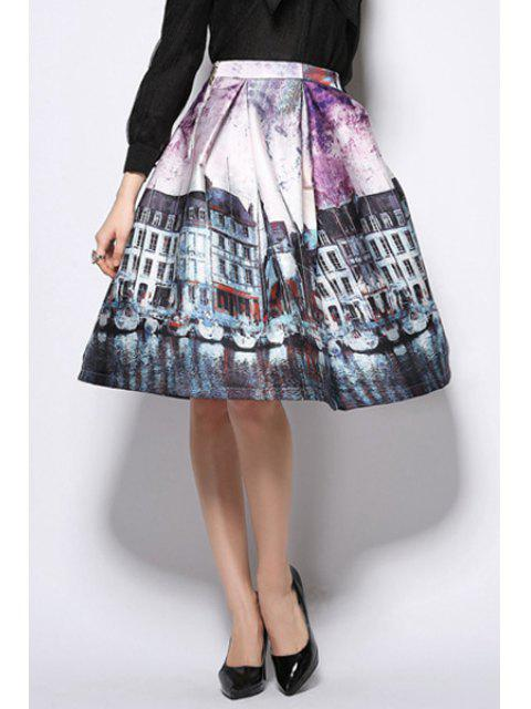 hot A-Line Scenery Print Midi Skirt - PURPLE XL Mobile