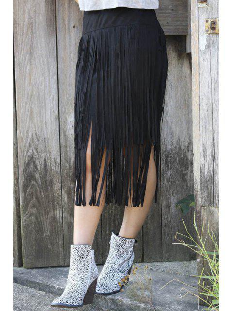 Jupe à Glands à Taille Haute - Noir XL Mobile