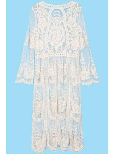 fashion See-Through Embroidery Lace Dress - OFF-WHITE ONE SIZE(FIT SIZE XS TO M) Mobile