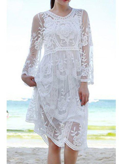 latest See-Through Embroidery Lace Dress - WHITE ONE SIZE(FIT SIZE XS TO M) Mobile