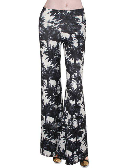 hot Tropical Print Flare Yoga Pants - WHITE AND BLACK S Mobile