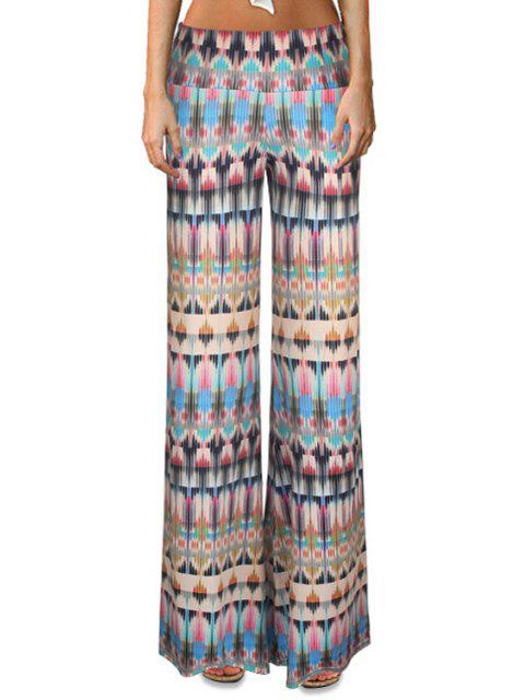fancy High-Waisted Printed Flare Yoga Pants - COLORMIX L Mobile