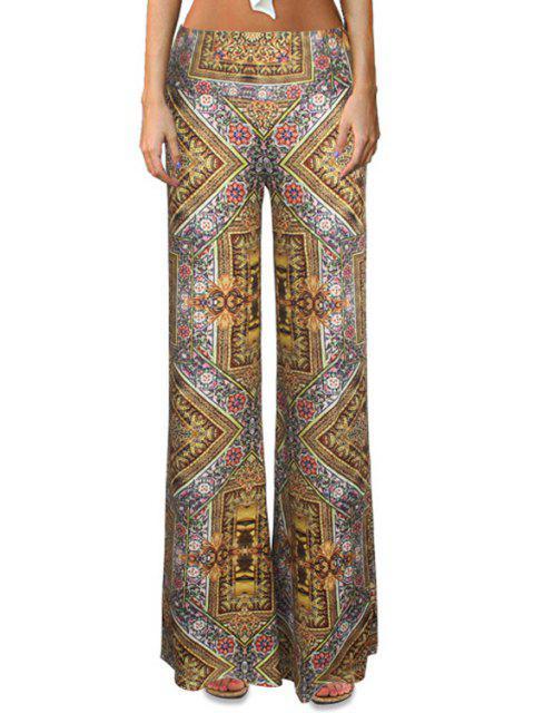 Pantalons à pattes d'éléphant à taille haute imprimé de motif tribal - Multicolore S Mobile