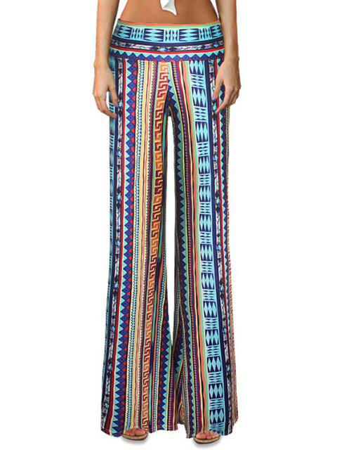 trendy Geometric Print Striped Bell Bottoms - COLORMIX S Mobile