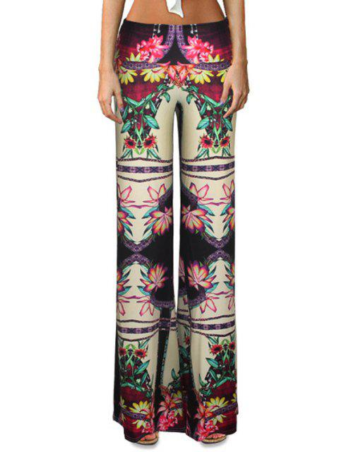 womens High-Waisted Flower Print Bell Bottoms - COLORMIX L Mobile