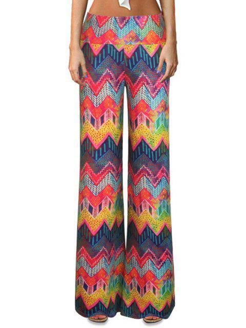 Chevron Stripe Pantalones coloridos de campana - Colores Mezclados S Mobile