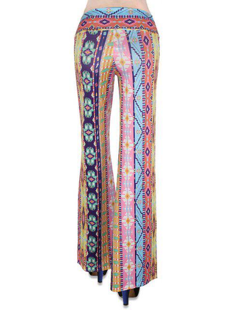 fashion Elastic Waist Printed Flare Leg Pants - COLORMIX L Mobile