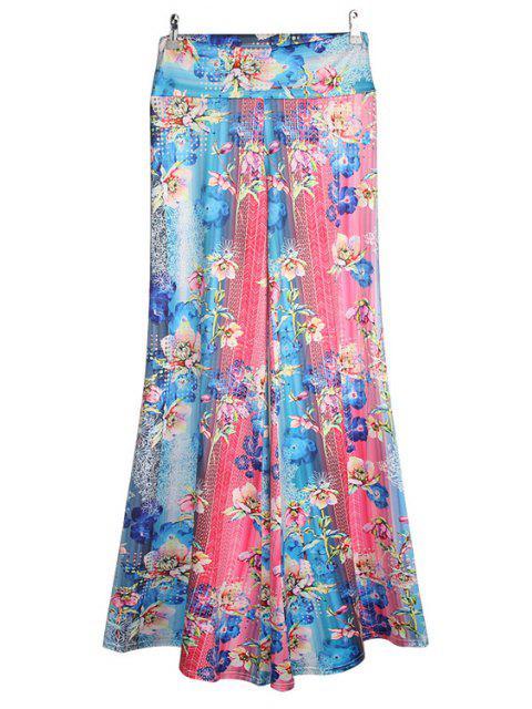 hot Floral Color Block Flare Leg Pants - COLORMIX XL Mobile