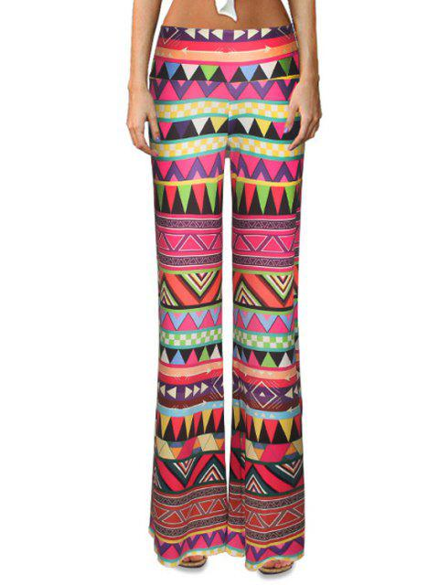 latest Triangle Pattern Flare Leg Pants - COLORMIX S Mobile