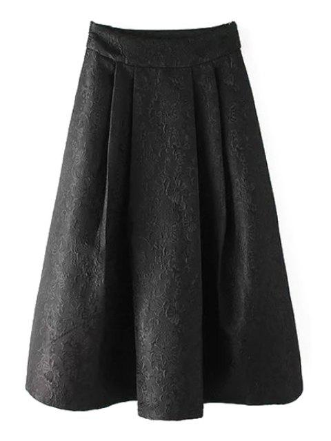 buy Ball Gown High Waisted Jacquard Solid Color Skirt - BLACK M Mobile
