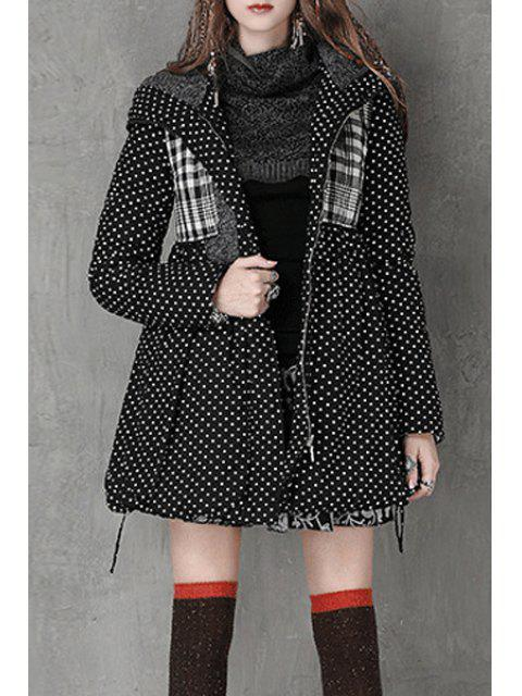 sale Hooded Polka Dot High-Waisted Parka Coat - BLACK S Mobile