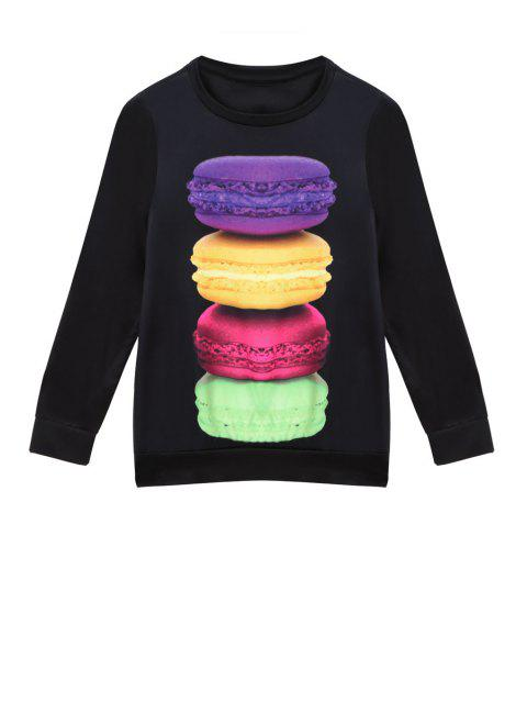 ladies Macaron Print Long Sleeve Sweatshirt - BLACK XL Mobile