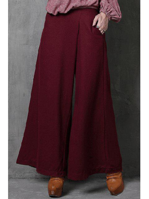 outfit Wide Leg Pocket Wine Red Pants - WINE RED S Mobile