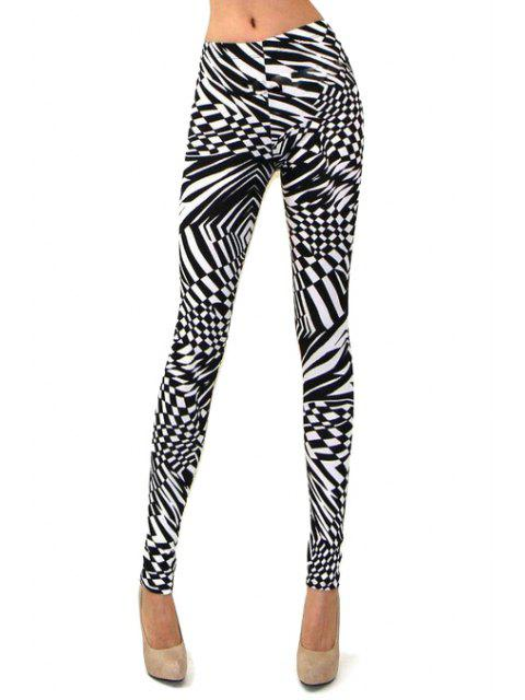 outfit Abstract Print Skinny High Elasticity Pants - WHITE AND BLACK S Mobile