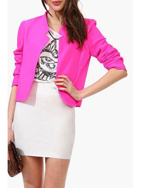 chic Candy-Colored Notched Blazer - ROSE 2XL Mobile