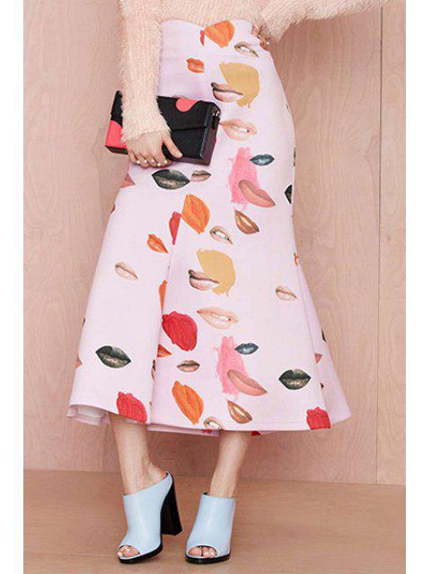 womens Lip Print A-Line Long Skirt - PINK L Mobile