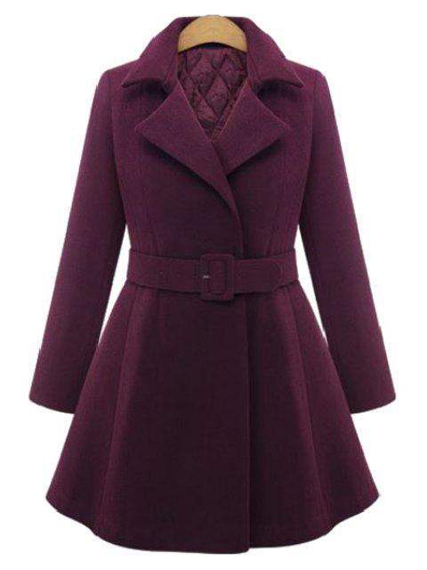 chic Pure Color Lapel Long Sleeve A Line Coat - WINE RED 2XL Mobile
