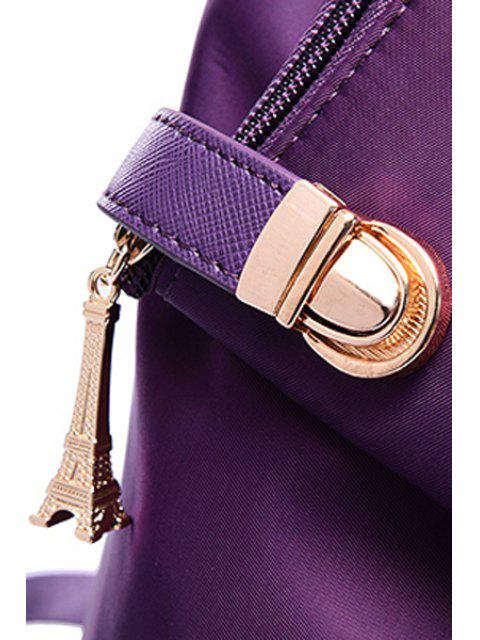 trendy Button Metal Solid Color Satchel -   Mobile