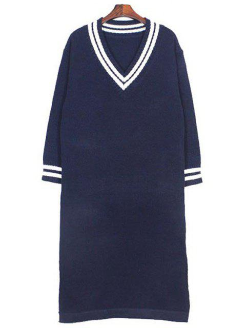 lady Plunging Neck Long Sleeves Side Slit Sweater Dress - DEEP BLUE ONE SIZE(FIT SIZE XS TO M) Mobile