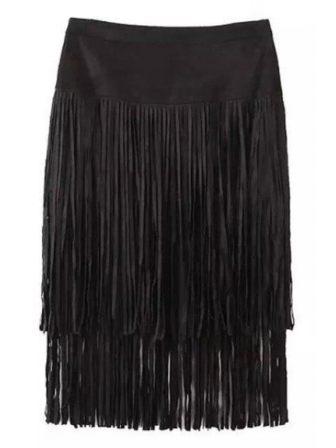 hot Tassels Packet Buttocks Pencil Skirt - BLACK L Mobile
